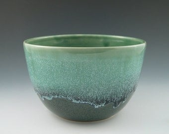 Serving Bowl in Aqua and Dark Blue Handmade Pottery