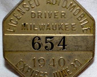Milwaukee Driver Badge License 1940