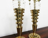 Regency Pair of Stacked Brass and Lucite Table Lamps - Charles Hollis Jones