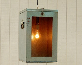 Hanging Vintage Pendant Light - Large Metal Cricket Cage Upcycled to Hanging Light