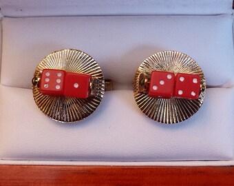 Original Vintage Rare Figural/Functional Spinning Red Dice Cufflinks