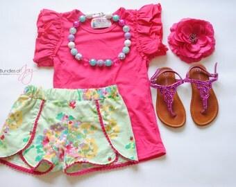 "Floral Girls Shorts - Floral Coachella Shorts -  Pom Pom Trim Shorts - Pink Purple Mint Aqua Shorts -  ""May Flowers"" Coachella Shorts"