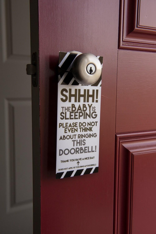 Do Not Ring Doorbell Door Hanger Don T Right Doorbell