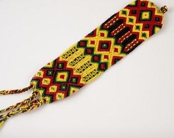 Woven Rasta Reggae Red Green Gold Black Guatemalan Friendship Bracelet Cuff