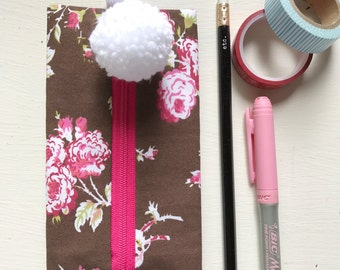 Funky Vintage {Inspired} Brown + Pink Floral Fabric Pencil Case Binder Pouch/ Journaling Case/Eyeglass Case with Elastic