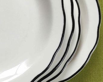 Buffalo China Plates with Black Scalloped Edge, Manhattan ca. 1980s