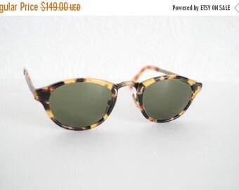 Vintage Oliver Peoples Sunglasses Oval Tortoise Frame Brass Filigree Detail