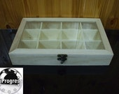 Unfinished Hinged Wood Wooden Box  with Clear Glass Lid Top