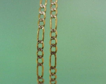 Unisex Vintage Estate  10k Yellow Gold  Figaro Diamond Cut Chain Necklace,20""