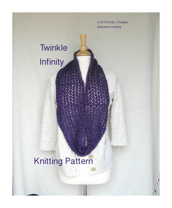 Items similar to Twinkle Infinity Scarf Knitting Pattern ...