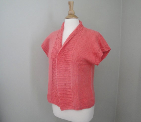 Short Sleeve Sweater Coral Orange Cotton & Cashmere Womens