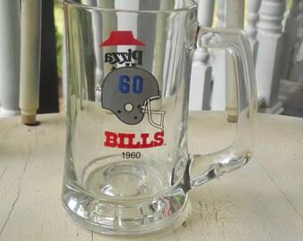 Buffalo Bills Beer Glass Pizza Hut 12 Oz Vintage 1980s