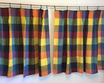Vintage Curtains, Plaid Curtains, Woven Fabric Curtains, Rainbow Curtains