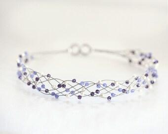 42_Purple wedding hair accessories, lilac bridal headband, purple headband bridal Crystals wedding accessories Pearls headband Silver bridal