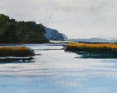 Landscape painting, Original Oil on wood panel, 10x20 inches, Canadian Fine Art Water marsh