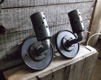 Pair of Custom Industrial Wall Sconces Repurposed Components Custom Lighting