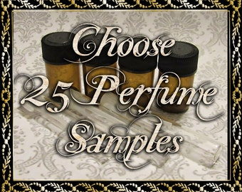 Sample Perfume Oils: Choose 25 (Twenty Five) 1mL or 2mL Samples, Alcohol Free, Cologne Oil, Artisan Fragrance, Ships Out in 6-9 Days