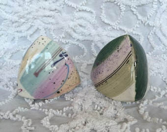 Unique 1980's Salt and Pepper Shakers Triangular Southwestern 80's Shaker Set Pink Green Purple Splash