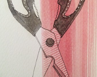 "Daily Illustration # 14/100 ""Scissors"" Original Hand Drawn Scissors with Pink Stripe"