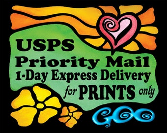 USPS Priority Mail 1 Day Delivery for GooStudio PRINTS Shipped to USA only