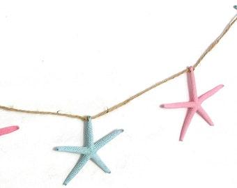 Starfish Garland, ANY COLOR, Painted Starfish, Wedding Garland, Birthday Party Decor, Beach Wedding, Coastal Wedding, HOME Decor