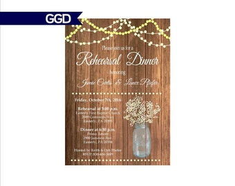 Rustic Wood Rehearsal Dinner Invitation with Vintage Lights, rehearsal and dinner invite, wedding rehearsal dinner invitation