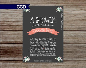 Boho Bridal shower invitation with flowers, flower bridal invitation, wedding shower invitation - Printed or Digital File