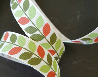 16mm Green Vine Leaf Print Grosgrain Ribbon