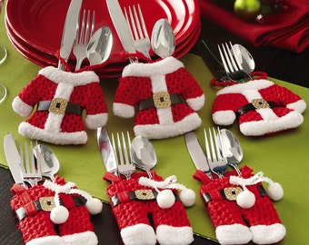 Santa Suit Christmas Silverware Utensil Holder Pockets Holiday Decor Table SET OF 8 NEW