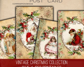 Digital Collage Sheet Download - Vintage Christmas Papers -  1197  - Digital Paper - Instant Download Printables