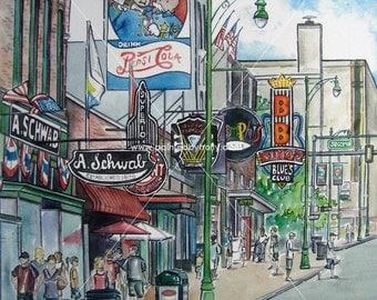 Beale St. Street Memphis, Tennessee TN B.B. King signed Art Print Artwork