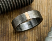 6mm Mens Wedding Band, 14k Yellow Gold & Rhodium Plated Sterling Silver