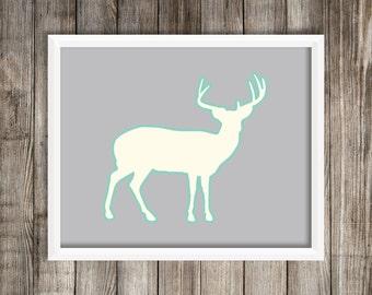 Modern Elk Silhouette Print.  Elk 8X10 Art Print ~ Digital Download.