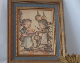 MOVING SALE Beautifully Framed Print of Two Children, Birthday Cake and Dog.