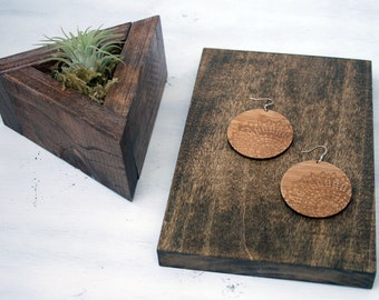 Lace Design // Wooden Disc Earrings // Bamboo // Hypoallergenic //