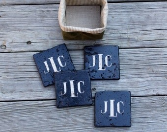monogram Rustic chalkboard style stone coasters Dinner Party Gift Hostess Gift script rustic wedding gift personalized mens gift