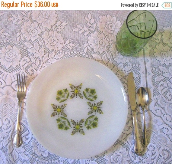 15% Off Sale Vintage Set of 4 Anchor Hocking Oven Proof Dinnerware Plates-Green Meadows-Collectible-Rare
