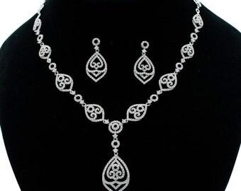 Gold,Silver Crystal Rhinestone Cz Cubic zirconia Wedding Bridal Necklace Earring Set NE15021T