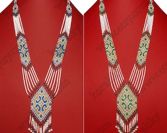 Traditional Ukrainian Folk Handmade Glass Beaded NECKLACE Long Gerdan.