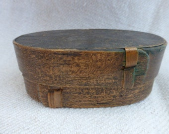 Antique French Bent Wood Box Storage and Supplies