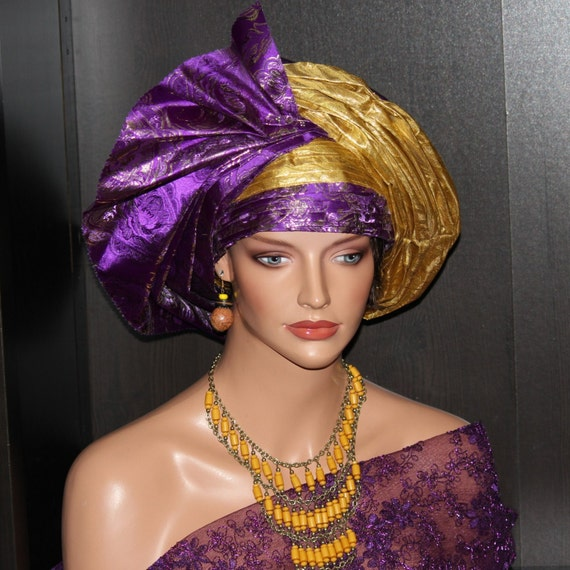 Pret a porter pre made african couture double gele headwrap for Pre a porter