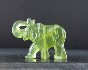 Craved jade elephant . Natural stone S6057