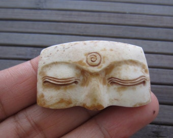 Antique look  Hand Carved BUDDHA Eye Cabochon,  bovine carving, Cabochon for Setting , embellishment S4858