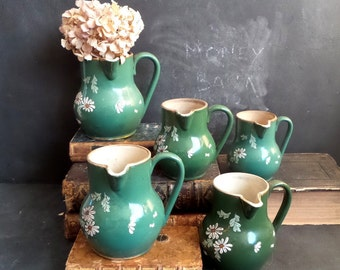 1900s Antique collection of 5 creamer pitcher and jug . Farmhouse and french country decor .Kitchen decor