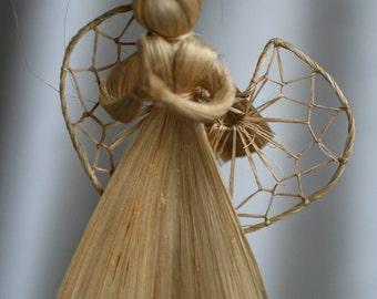 Raffia Angel Ornament, Natural Angel, Angel Crafts.
