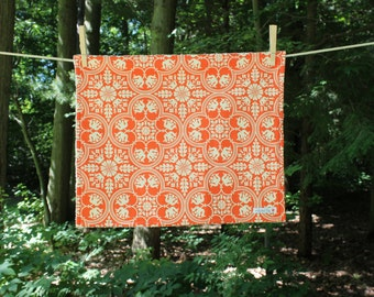 Medium Dish Drying Mat - Cream and Orange Geometric Medallion Fabric - by The Quilted Tulip - Kitchen