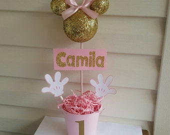 Pink and gold Minnie Mouse glitter/sparkly Head centerpiece party decoration, topiary
