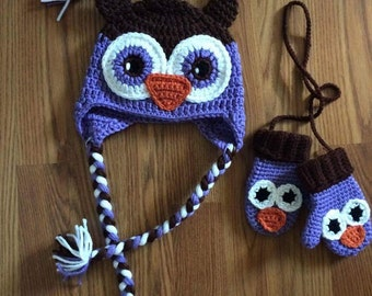 Crochet Owl Earflap Hat and Mitten Set, Beanie, Mitts