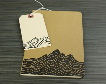 Mt. Range print on a kraft travel journal - Mountains - medium size journal with inner pocket. mountain range, nature journal