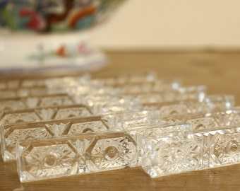 French Lead Crystal Knife Rests....set of 12....Stunning....Paris Apartment....Frou Frou....